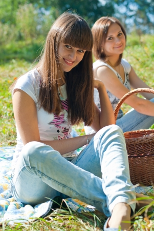 Two happy female friends on picnic Stock Photo - 14335047