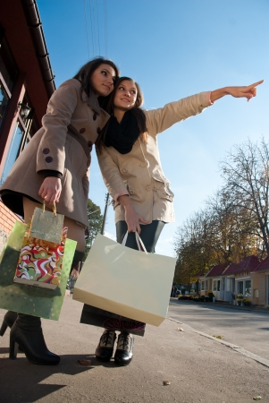 Two young pretty women with shopping bags looking away photo