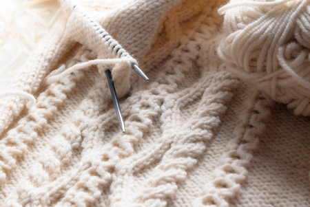 Knitting closeup photo