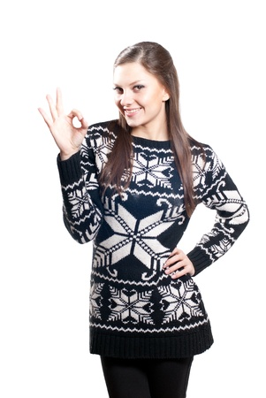 Young beautiful woman showing okay sign photo