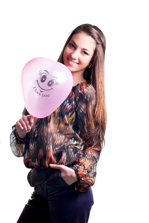 Young happy woman with balloon photo
