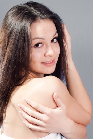 Beautiful young happy woman beauty closeup portrait photo