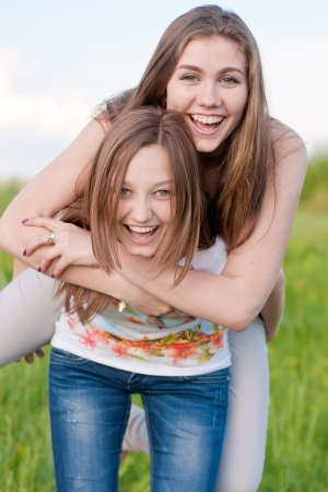 Two happy teenage friends having fun Stockfoto