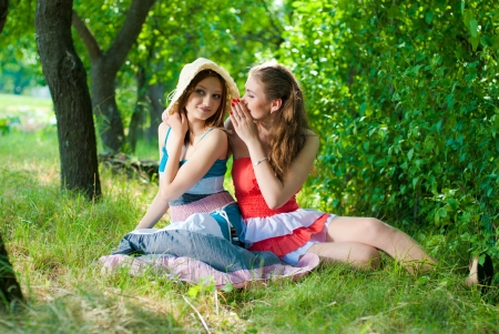 Two happy teenage girl friends sharing secret in park photo