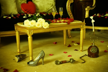 Gorgeous hotel room prepared for celebration Stock Photo - 17819932