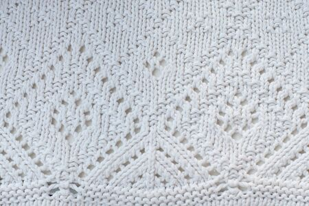White cotton knitted sweater pattern photo