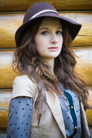 Young stylish woman wearing hat photo
