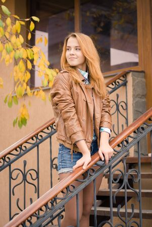Teenage girl autumn day portrait photo
