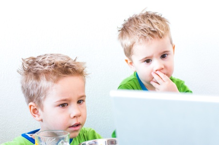 Two modern baby boys brothers with computer Stock Photo - 18521280