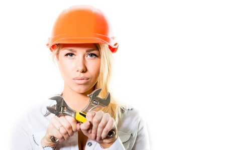 Young blond woman in constructor helmet isolted on white background copyspace photo