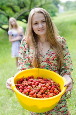 Two happy young women gathering strawberry on bright summer day photo