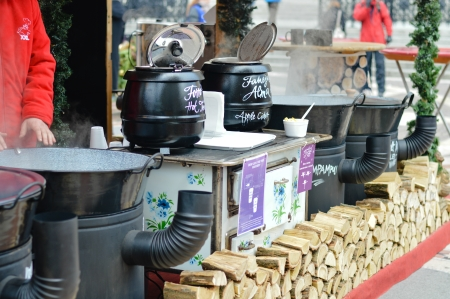 vernacular: Hungarian foods at a christmas fair stand on the Vorosmarty square