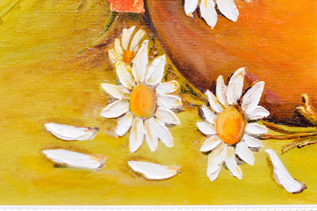 Daisy and poppy flowers oil painting detail closeup photo