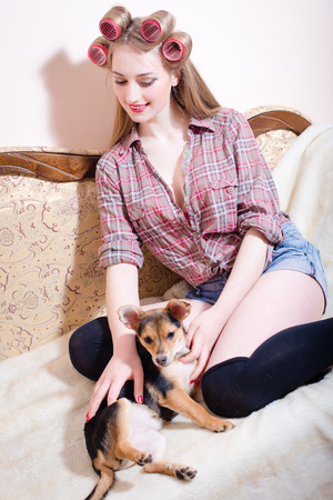 sexi: Closeup potrtrait of sexi young beautiful girl with curlers on long hair stroking a dog sitting on sofa Stock Photo