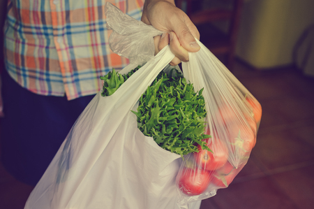 Human hand holding farmer market bag with natural vegetables. Copy space healthy looseweight nutrition lifestyle. Close up photography 写真素材
