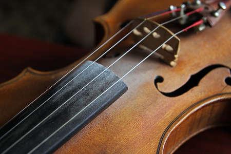 Vintage violin over dark background. Detail of violin