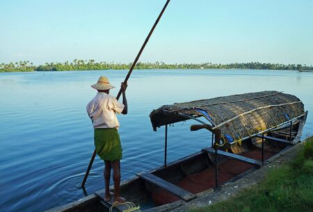 A pleasure boat in a lagoon near Marari Beach in Kerala, India