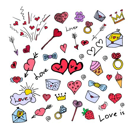 Set of colorful doodle on background.Doodles heart, ring, letters, arrow, cupcake, crown elements. Color vector items. Design for prints and cards. love set.Vector