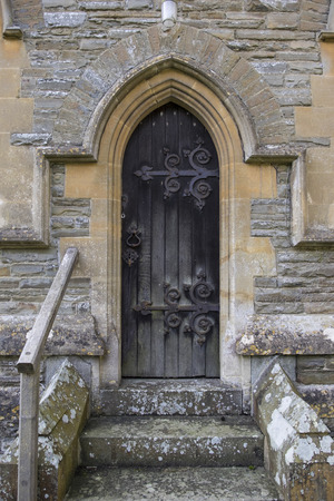 old church: Old church door with wrought iron detail