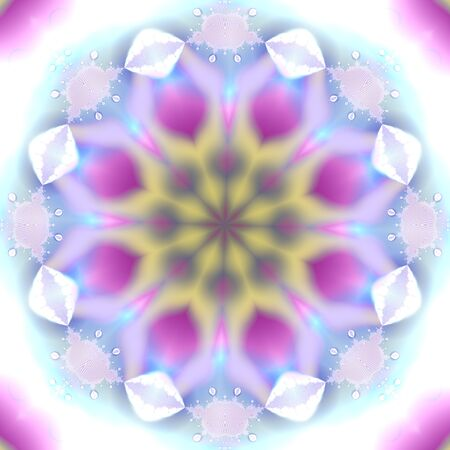 fractal pink: White, pink and blue snowflake effect fractal