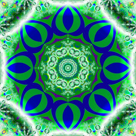 octagonal: Geometrical fractal image in a vibrant green and blue octagonal shape Stock Photo