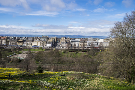princes street: Looking down to Princes Street, Edinburgh and across the Firth of Forth to Fife Stock Photo