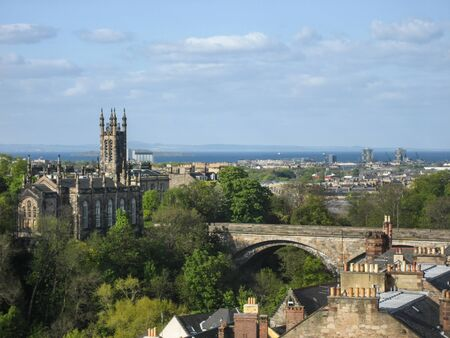 forth: Looking across Dean Bridge and Holy Trinity Church to the Firth of Forth Stock Photo