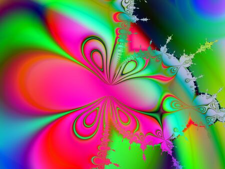 fractal pink: Colorful digital fractal image in the form of a pink butterfly
