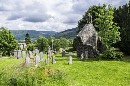 kirk: Historic Balquhidder cemetery, the final resting place of the famous Scottish folk hero Rob Roy MacGregor