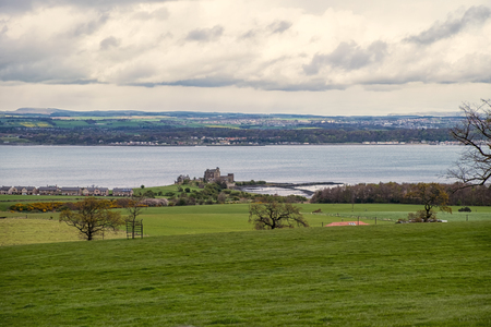 blackness: Scottish landscape scene looking down to Blackness and across the Firth of Forth to Fife