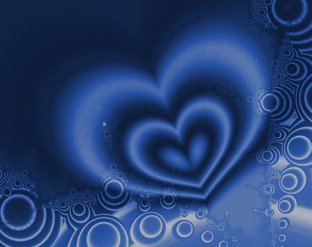 corazones azules: formas hermosas de una imagen fractal crear corazones y los círculos en azul y blanco Foto de archivo