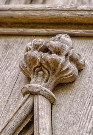 skillfully: Skillfully carved section of a highly ornate old wooden panel Stock Photo