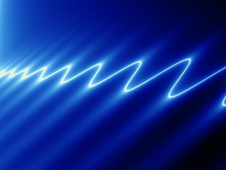 streak lightning: Abstract fractal image of white light rippling across blue surface Stock Photo