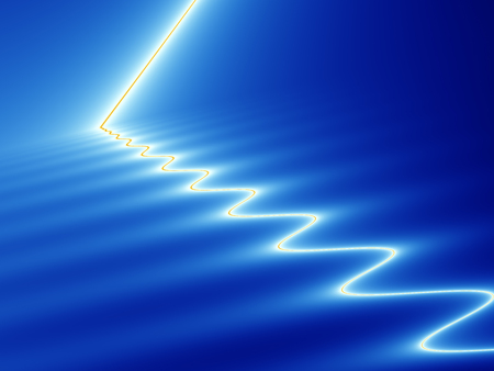 streak lightning: Abstract fractal image with effect of white and yellow streak of light hitting and rippling across blue surface