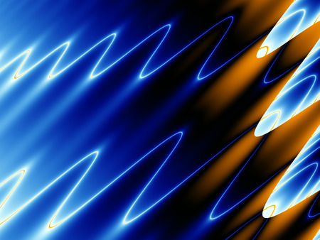 Futuristic fractal image of liquid effect with blue yellow and white ripples Stock Photo
