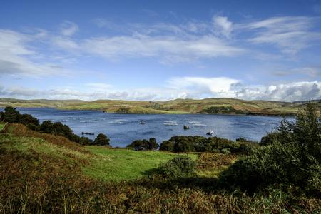 Fish farm surrounded by the beautiful Isle of Skye Scotland landscape