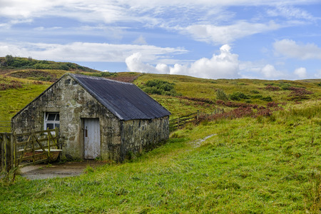 outbuilding: Old stone outbuilding in the beautiful rural landscape of Isle of Skye Scotland