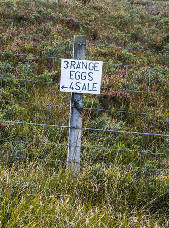 fencepost: Amusing for sale sign for free range eggs attached to a fencepost at the side of a Scottish farm road with purple heather and grass behind a wire fence Stock Photo