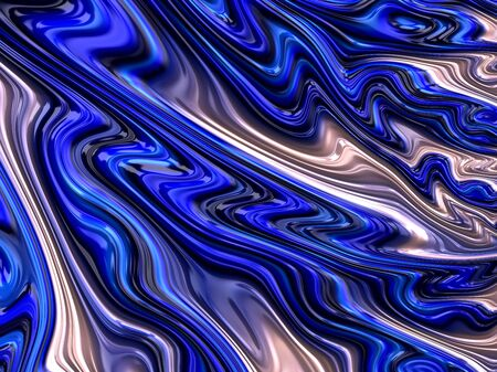 Beautiful blue and white of a digitally created fractal abstract image in flowing liquid effect Standard-Bild