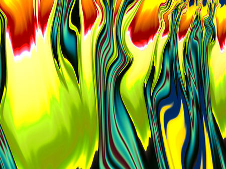 Beautiful colors of flame effect digitally created abstract fractal image of yellow orange red green and blue Imagens