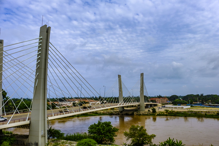 Modern suspension Bridge, 4 April, over Catumbela River links cities of Benguela and Lobito in Angola Éditoriale
