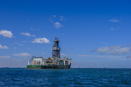SWAKOPMUND, NAMIBIA - MARCH 24 2018: Large oil drilling ship built in 2011 in South Korea, Ocean Rig Poseidon off coast of Namibia near Walvis Bay