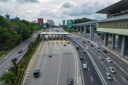 Traffic near Toll payment at SPRINT Highway, Malaysia.