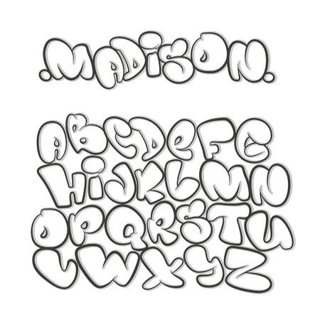 alfabeto del fumetto nello stile del fumetto. graffiti