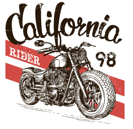 racer flag: illustration sketch motorcycle california t shirt prints.