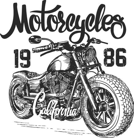 finally: illustration sketch motorcycle california t shirt prints