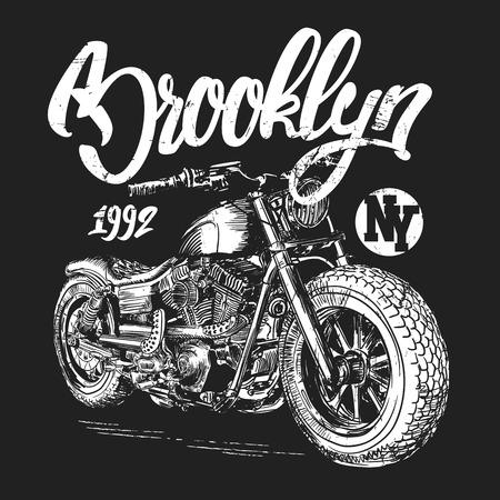 ブルックリン モーター サイクル t シャツ グラフィック デザイン