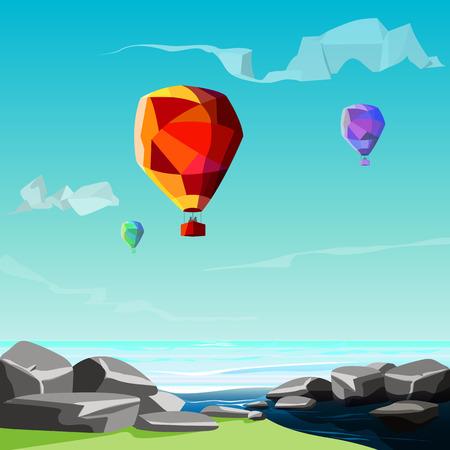 bas poly fond, mer, des pierres avec des ballons volent vers le ciel