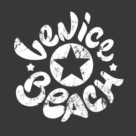 california coast: Venice Beach t-shirt print white
