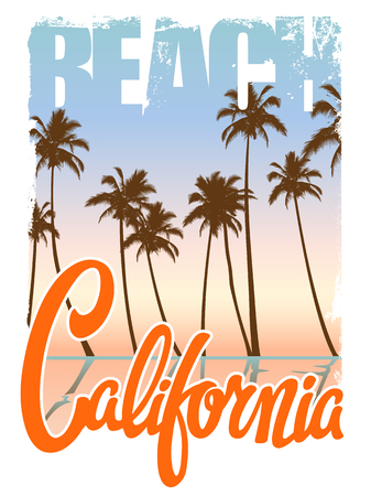 ca: California beach Typography Graphics. T-shirt Printing Design for sportswear apparel. CA original wear. Concept in vintage graphic style for print production. Palms, wave and seagull. Vector